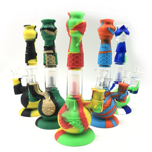 New design Silicone Bong Water Pipe kits with Glass Bowls Multi color Glass bong Smoke pipe
