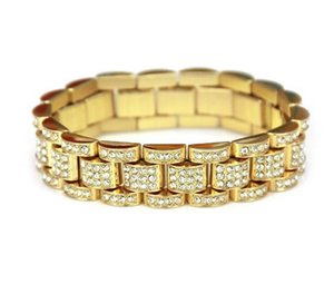 Gold Fully Iced Out President Watch Band CZ Mens 14K Gold Plated Bracelet