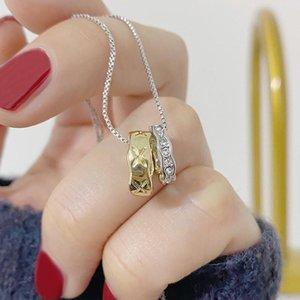 Chaînes SOI Colliers de style simple pour femme Clavicule Chaîne Charme Pendentif mariage 14K Véritable bijoux en or