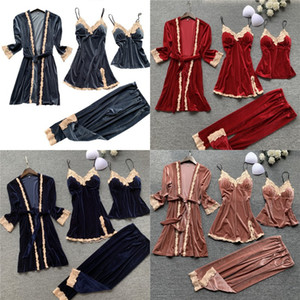 Autumn 4 Pieces Women Pajamas Sets Gown & Robe Sleepwear Velvet Nightwear Pyjama Strap Sleep Lounge Set Pijama with Chest Pad 735 K2