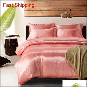 Solid Satin Silk-Lik Linen Court Style Bs43 Duvet Cover Set Pillowcases Covers Twin King Queen Single 2 3 Pcs Bedding Sets 0Z6Ea Dnctn