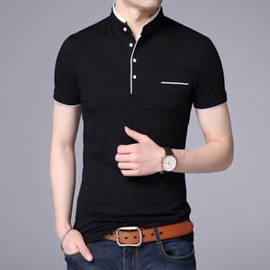 2021 New Fashions Brand Designer Polo Shirt Mens Solid Color Mandarin Collar Slim Fit Short Sleeve Boy Polos Casual Men Clothing