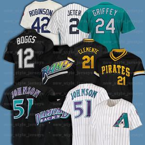 21 Roberto Clemente 51 Randy Johnson 42 Jackie Robinson 12 Wade Boggs 레트로 남자 미첼 Ness Baseball Jersey Z5