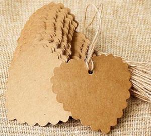 100 pcs lot 6*5.5cm Heart Label Brown Kraft  black white Paper Tags DIY scallop Label Wedding Gift Decorating Tag