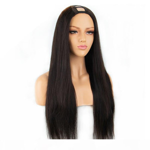 Straight U Part Human Hair Wigs for Black Women Long Middle Part U Part Wigs for Women 8-26 Inches