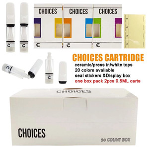 Choices carts Cartridge Empty Packaging full Ceramic cartridges 510 Thread Vapes 0.5ml Press in Atomizer Choices Vape Cartridges