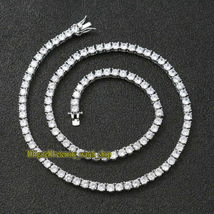 European and American hip-hop 5mm Silvery CZ Diamonds tennis chain mens Iced Out diamond bracelet necklace couple tennis chain eternity