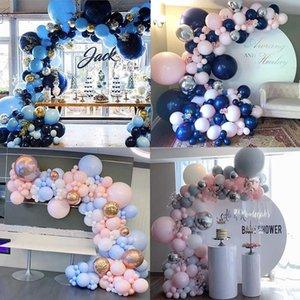 Royal Blue Girland Arch Balloon Kit Confetti Latex Balloons Baby Душ Свадьба День рождения Годовщина Партия Декор Grobos 210626