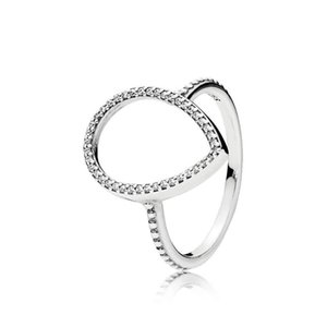 New Brand 100% 925 Sterling Silver Sparklet Hollow Teardrop Ring With Cubic Zirconia Stones For Women Wedding Rings Fashion Jewelry
