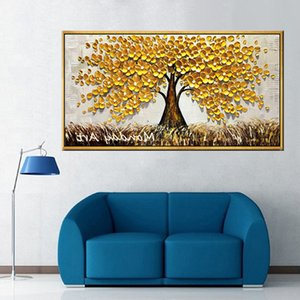 100% hand made 3D gold tree oil painting, canvas, art wall, flower painting, lucky tree painting, living room wall painting