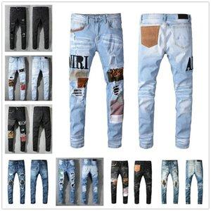 Nueva moda fresca casual casual de alta calidad hombres jeans agujero vintage pantalones de mezclilla angustiada arruinado biker delgado ajuste motocicleta motocicleta dril de algodón para hombres
