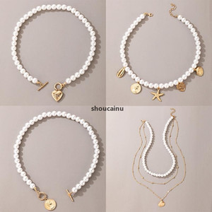 HotWomen Short Pearl Chokers Necklace For Women Gold Color Heart Love Coin Ot Clavicle Chain Jewelry