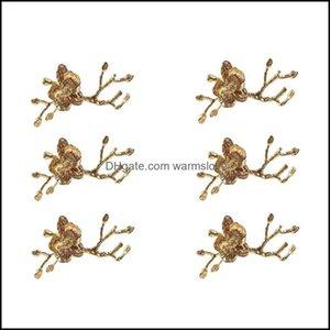 Aessories Kitchen, Dining Bar Home & Gardenplum Blossom Branch Design Napkin Holder Ring Western Towel El Table Decoration Set Of 6 Rings Dr
