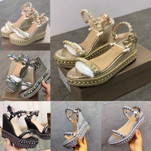 Дизайнерские женские туфли Высокие каблуки красные нижние заклепки Sandal 6 см 12 см Cataclou Catched Wedge Sandals мода дамы гладиаторы сандалии