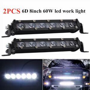 Working Light 2pcs 6D 8inch 60W Led Work Spotlight Bar Driving Lamp For Truck SUV ATV Boad RZR 4X4 Off Road Car 12V 24V