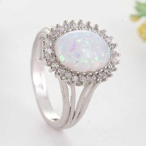 Cluster Rings White Opal Oval Gorgeous Ring For Women Wedding Size 6-10 Cut