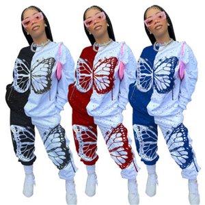 2021 Novo de duas peças Oufits Mulheres Plus Size Roupas S-4XL Suéter empilhado Sweatpants Borboleta Imprimir Patchwork Atacado Dropvt D2VZ