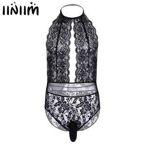 Mens Lingerie Bodysuit Lace See-through Crossdress Sexy Underwear Backless Cut Out Sissy Gay Male Pouch Jockstraps Nightwear
