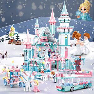 QWZ Friends Ice Princess замок замок строительный блок рождественский зимний снежный дом мультфильм кирпичные девушки игрушки для детей подарок