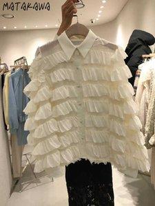 MATAKAWA-Blusa abotonada de encaje con capas para mujer, blusa coreana solapa y temperamento, camisa manga larga mujer 2021