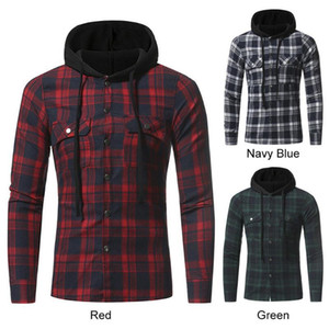 Mens New Arrival Soft Plaid Hooded Checked Flannel Hoodies Slim Tops Loose Fit Hooded Long Sleeve Blouse Casual Tops