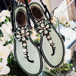 Ollymurs Kadın Sandalet Yaz Kadın Ayakkabı Rhinestones Zincirleri Tanga Gladyatör Düz Sandalet Terlik Kristal Chaussure