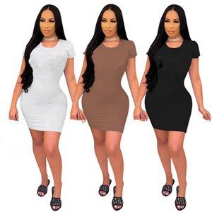 여름 의류 여성 2XL 섹시한 미니 드레스 짧은 소매 플러스 사이즈 일반 마른 나이트 클럽 솔리드 컬러 패션 바디 콘 드레스 DHL 4612