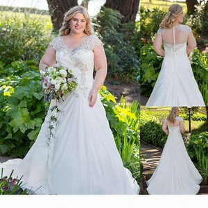 Chiffon V-neck Neckline A-line Plus Size Wedding Dresses With Beaded Embroidery Ruched Bridal Dress Illusion Back Bridal Dresses