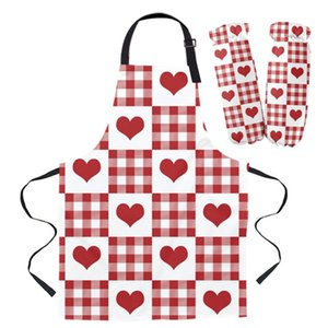 Aprons Valentine'S Day Love Red Plaid Kitchen For Women Bibs Household Cleaning Pinafore Home Cooking Apron