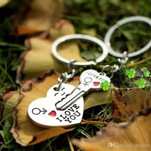 Couple I LOVE YOU Heart Keychain Ring Keyring Key Chain Creative party favor Lover Romantic Creative Birthday Gift LXL935-1