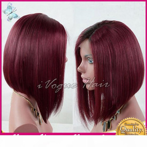 Burgundy Lace Wigs Peruvian Short Bob Full Lace Wigs Human Hair Glueless Lace Front Human Hair Wig with Baby Hair #99J