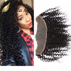 Nueva llegada 11a Frontals Bellahair 13 * 4 oreja a oreja Cierre frontal del cordón con el pelo del bebé Color natural Curly Hair Hair Jullonchina Topclidos