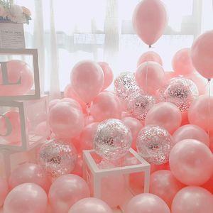18pcs 10inch Gold Silver Pink Chrome Latex Balloons Confetti Wedding Birthday Navidad Party Decorations San Valentin Globos