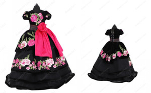 Vintage Black 3D Floral Flowers Little Girls Pageant Dresses 2021 Ball Gown Velvet Short Sleeves Cheap Flower Girl First Communion Dress