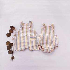 ENKELIBB Leinen Sommermarke Design Baby Jungen Regenbogen Strampler Brother Schwester passende Kleidung Ärmellose BLAYSUIT 210309