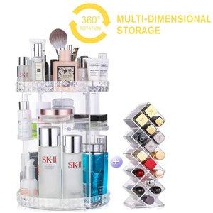 360 Degree Rotating Cosmetic Storage Box Organizer Makeup Brush Holder Lipstick Display Large Adjustable Multilayer