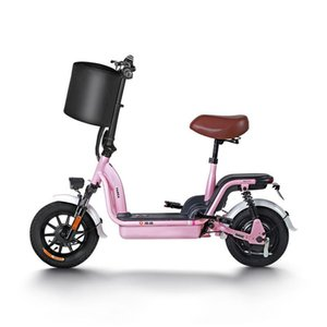 Electric Bicycle Parent-Child City 2 Wheels 350W 48V 12AH Lightweight Foldable Scooter Pink For Girls Ladies