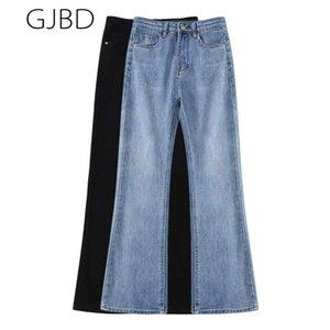 Força elástica cintura alta feminina jeans 2021 primavera nova vintage versátil micro calças flared calças casuais y2k retas denim calças
