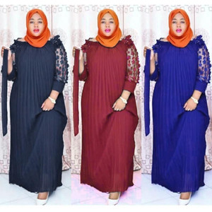 Plus Size African Evening Dresses For Women Fashion Party Robe Africaine 2021 New Ladies Pleated Long Dress Muslim Hijab Abaya