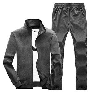 2021 2 Sets of Sports Suits Jacket + New Spring Sweatsuit Pants Soild Men's Clothing More Size L-5xl Xuqi
