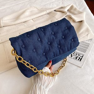 Z family recommends autumn and winter blue large capacity canvas denim quilted One Shoulder Messenger Bag