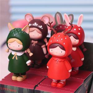 Moss girl's blind box hand made resin handicraft cartoon ornament creative animal doll cake decoration car ornament