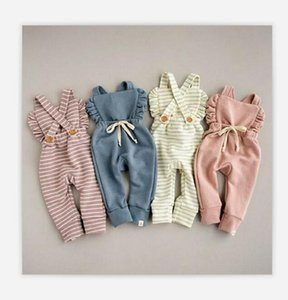 Newborn Stripe Rompers Kids Backless Newborn Overalls Ruffle Pure Color Children Playsuits Candy Color Baby Clothing WY230 ZWL