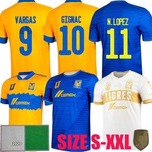 New Liga MX 2021 2022 Tigres Uanl Футбол Джетки Tair Away Gignac 22 22 Финал Лопес Варгас Pizarro 3RD Футбольные Рубашки CamiSetas S - 5XL