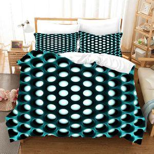 Bedding Sets Fashion HD Digital Honeycomb Print Duvet Cover+Pillowcase 2 3pcs Customized Bed Set EU AU US Size