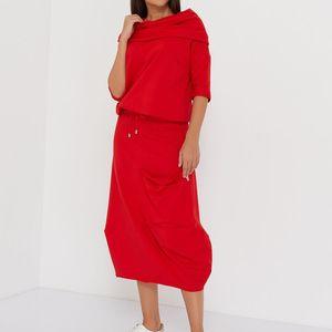 Taschen Kordelzug Massivfarbe plus Größe langer Rock Sets Lady Turtscheck Halbhülse 2 Stück Outfits für Frauen Shyloli Casual