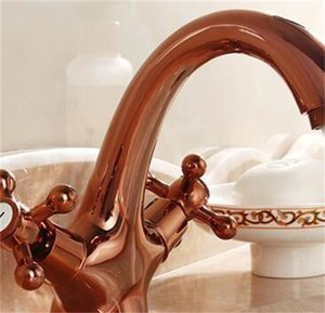 Vintage cuarto de baño fregadero grifo + tubo rosa oro, mezclador de cuenca de cocina de agua de cobre antiguo, mezclador de grifo de doble soporte retro grifo hotcold 109 v2