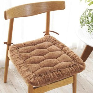 Solid Winter Seat Cushions Fluffy Throw Pillow Super Soft Thicken Chair Cushion Home Office Decoration Cushion Warm Sit Pad B