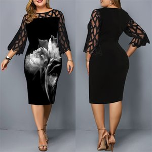 Midi Ladies Floral Dress Plus Size Black Mesh Elegant Women Wedding Party Dress 3 4 Sleeve Summer Spring Female Bodycon Dress 210303