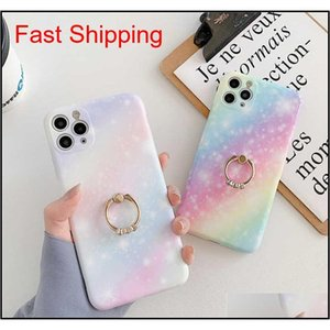 Rainbow Gradient Starry Sky Phone Case For 11 Pro Max 7 Plus 8 Xsmax Xr Xs Se Soft Imd Marble Cover Aihke
